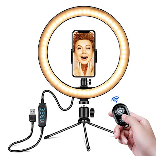 "10"" LED Ring Light with Tripod Stand and Phone Holder for Selfie,Live Streaming & YouTube Video, Dimmable Desk Makeup Ring Light for Photography, Shooting with 3 Light Modes and 10 Brightness Level"