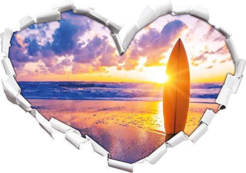KAIASH 3D Pegatinas de Pared Tabla de Surf en la Playa al Atardecer Forma de corazón en Apariencia 3D Adhesivo de Pared o Puerta Adhesivo de Pared Decoración de Pared 62x43cm
