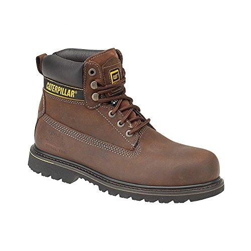 CAT Footwear - Botas de seguridad para hombres Holton SB - Marrón oscuro, 42, Piel y textil