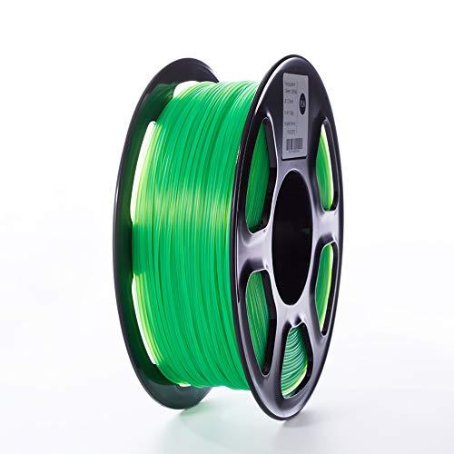 TOPZEAL 3D Drucker Filament, PLA Filament der Transparenten Serie, 1,75 mm, Maßgenauigkeit +/- 0,02mm, 1KG Spule für 3D Drucker und 3D Stift (Transparent-Green)