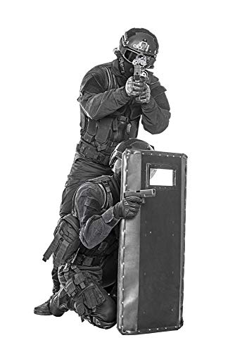 Posterazzi PSTZAB101053M Team of SWAT Police Special Forces with Pistol and Rifle, Hiding Behind Ballistic Shield Photo Print, 11 x 17, Multi