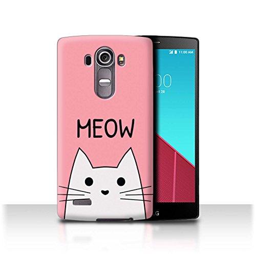 Stuff4® - Funda para teléfono móvil con diseño de dibujos animados Miau / Rosa LG G4/H815/H818