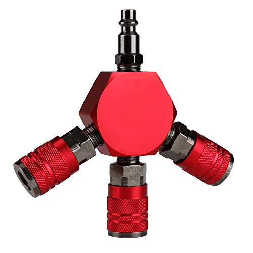 Hromee 3-Way Air Manifold 4 Ports Aluminum Industrial Flat Hex Quick Connect Air Hose Splitter with 3 Steel Couplers and 1/4' Male NPT Plug