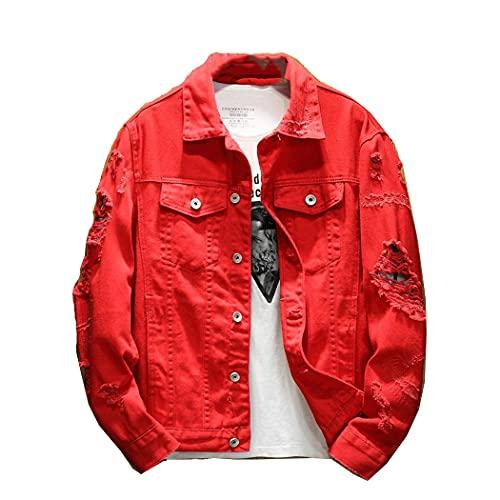 Autumn Men's Jean Chaqueta, Abrigos de algodón de algodón de Ajuste Slim, Rojo Blanco Blanco Agujero Romificado Jean Outwear MÁS TAMAÑO Red S