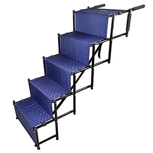 ZHANGLE Escaleras para Perros de 5 escalones, escalón Grande Plegable para Perros con Marco de Metal, rampa para Mascotas portátil de Almacenamiento extraíble,Azul ⭐