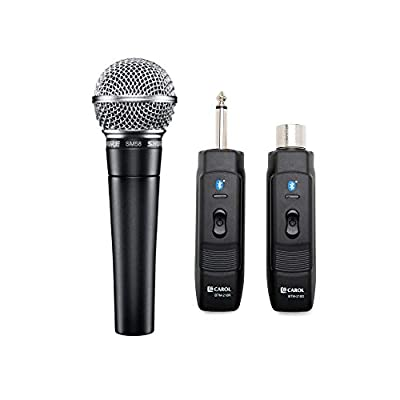 Shure SM58-LC Cardioid Dynamic Vocal Microphone with Knox Gear Microphone Wireless Adapter from Shure Incorporated