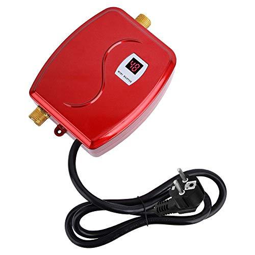 Duokon Calentador de Agua, 220V 3800W Mini Calentador de Agua instantaneo instantaneo sin Tanque electrico Bano Cocina Lavado Enchufe de la UE(Rojo)
