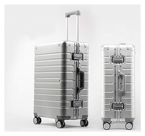 YTG Viajes Cuento Barato Maleta de Viaje de Aluminio de 24' Spinner 20' Maleta de Negocios Mesa con Ruedas (Color : Silver, Luggage Size : 24')