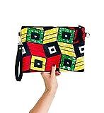 Sac wax Pochette wax clutch tissu africain vert jaune rouge tissu éthnique africain ethno chic- idée cadeau femme