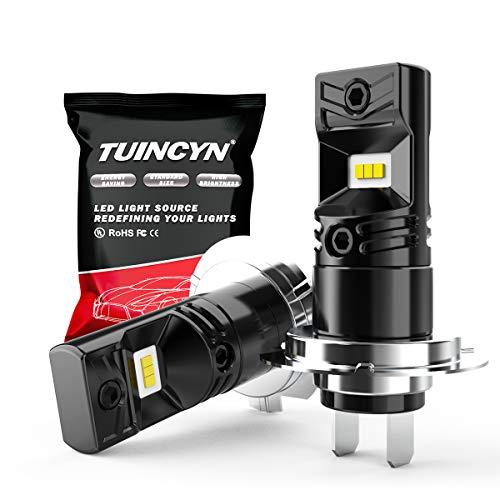 TUINCYN H7 Ampoules antibrouillard LED 6500K 1600LM Blanc CSP Puces DRL Feux de Jour Diurnes Lampe antibrouillard de Remplacement 80W Haute Puissance 12V-24V DC (Pack de 2)