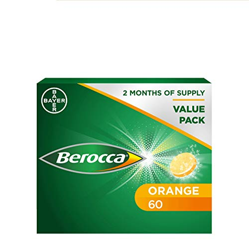 Berocca Vitamin C Effervescent Tablets, with Magnesium, Vitamin B12 & Vitamin B Complex, Orange Flavour, 1 Pack of 60 Tablets - 2 Months Supply