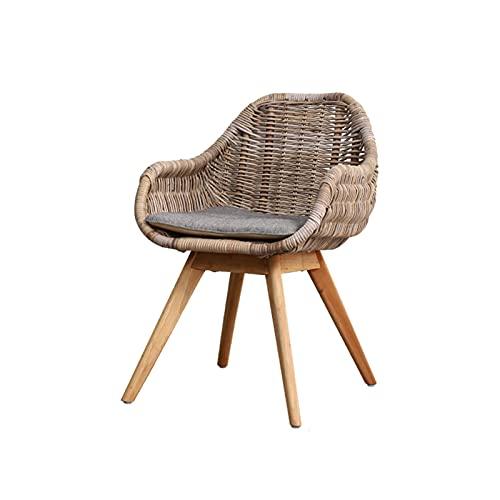 HFVDA Sedia intrecciata del balcone, sedia di vimini del tempo libero, sedia da pranzo di moda, sedia da pranzo per la casa, sedia da lettura della sala studio, gambe di sgabello in legno massello, ra