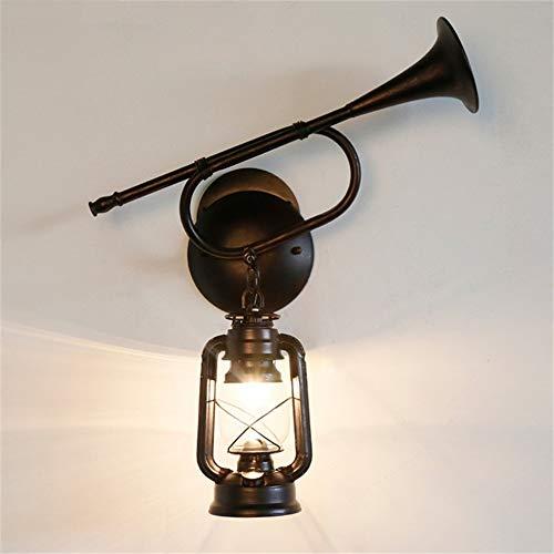 ZYTG Wandleuchten Esszimmer Eisen Kunst Beleuchtung Antike Laterne Petroleumlampe Hängende Wandleuchten Retro Glasleuchten, Black