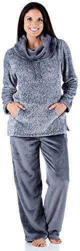 Sleepyheads Women's Fleece 2-Piece Cowl Neck Pullover Loungewear Pajamas Light Blue (SH1144-4065-2X)