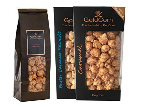 Gourmet Popcorn Süß-Salzig Set Karamell + Butter SeaSalt Caramel + Haselnuss-Karamell Snack Premium Popcorn Set (3 x 100g) Fertiges Popcorn & Popcorntüte | GoldCorn