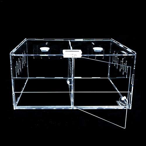 achievr Klare Reptilienzuchtbox, kleines Acryl-Terrarium Volle Sicht mit Schiebedesign Fütterungsbox für Insekten-Reptilien Vogelspinnen Amphibien-Überlieferungs-Raupen-Kricket-Spinnen-Schnecken-Repti