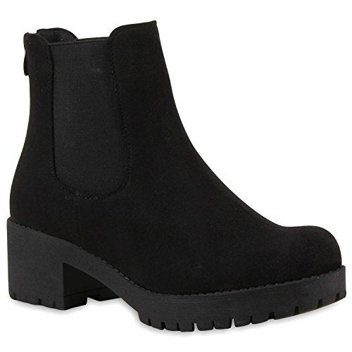 Damen Chelsea Boots Blockabsatz Plateau Stiefeletten Leder-Optik Schuhe 114793 Schwarz 38 Flandell