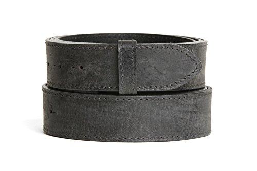 VaModa Ledergürtel Jeansgürtel Belt, Ascot grau, Länge=90cm, Druckknopfverschluß, ohne Schließe