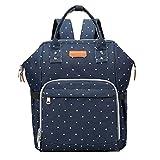 Ristiege Mommy - Bolsa de pañales multifunción de poliéster de gran capacidad para mochila organizadora, color azul