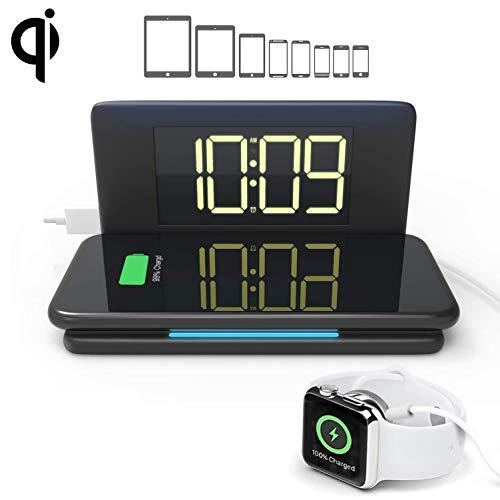 Draadloos opladen met wekker, 10W Qi draadloos oplaadpad, met USB-oplaadpoort, dimbaar display en nachtlampje, voor iPhone Android/AirPods