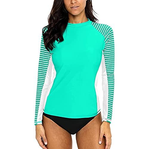 CharmLeaks Chaleco de manga larga para mujer, estampado de erupción UV, camisetas de natación, Aqua/White Stripe, M
