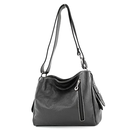modamoda de - T220 – Bolso bandolera pequeño de piel auténtica., color Negro, talla Small