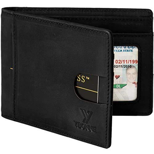 YBONNE RFID Blocking Slim Bifold Wallets for Men, Made of Finest Genuine Leather (Black)