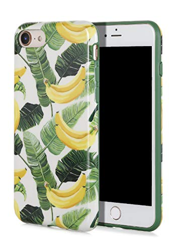SunshineCases Tropical iPhone Case (Compatible: Apple iPhone SE 2020 / iPhone 8 / iPhone 7 Case) Slim, Cute and Protective Phone Case Cover for Women & Girls, Easy to Grip (Green Banana Leaves)