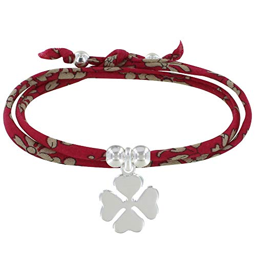 Schmuck Les Poulettes - Doppel Runde Link Armband Liberty und Silber 925 Klee - Classics - Rote