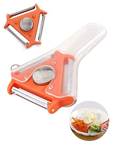 Juego de 2 peladores de verduras multifunción 3 en 1, pelador de acero inoxidable, cortador de trituradora para repollo, manzana, zanahoria (naranja)