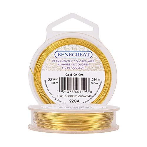 BENECREAT - Fil de cuivre de Benecreat coloré de manière permanente, 22 g, 20 m, doré