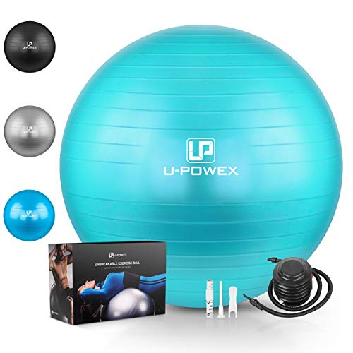 U-POWEX Professional Exercise Ball (45-85cm) - Professional Grade & Anti Burst Exercise Equipment for Home, Gym, Yoga, Balance, Fitness, Core, Desk Chairs - Quick Hand Pump & Workout Guide Green 65