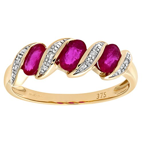 Naava Women's Eternity Ring, 9 ct Yellow Gold Diamond and Ruby Ring