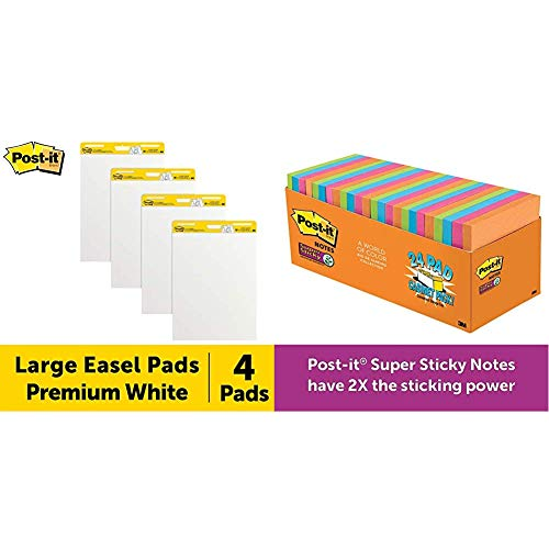 Post-It Super Sticky Easel Pad, 25 x 30 Inches, 30 Sheets/Pad, 4 Pads & Super Sticky Notes, Rio de Janeiro Colors, Large Pack, 3 in x 3 in, 24 Pads/Pack, 70 Sheets/Pad