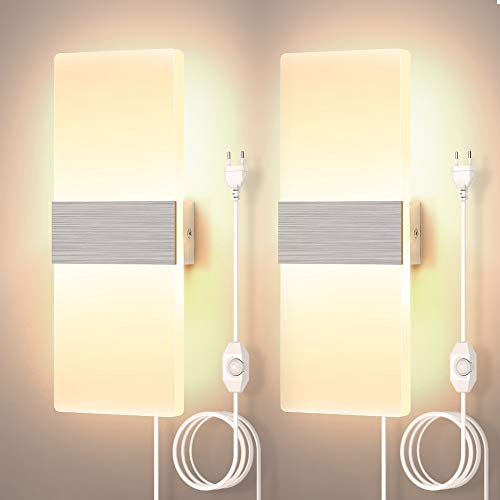 Moderna 12W Enchufe La Lámpara De Pared Regulable 2 piezas, La Pared De Luz LED De Pared Del Accesorio De Iluminación De Acrílico Para Sala De Estar Dormitorio, Blanco Cálido 3000K