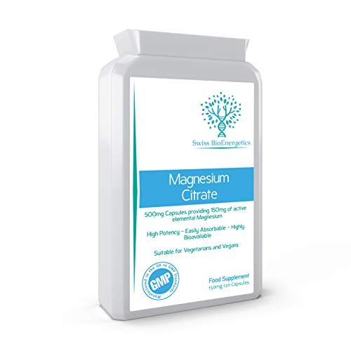 Magnesium Citrate 500mg 120 Capsules - Providing 150mg of Active Elemental Magnesium - High Potency - Easily Absorbable - Highly Bioavailable - UK Manufactured