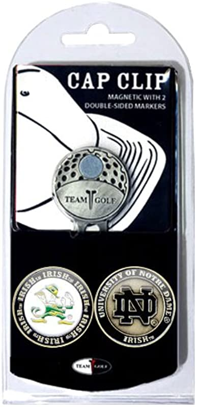 Team Golf NCAA Golf Cap Clip With 2 Removable Double Sided Enamel Magnetic Ball Markers