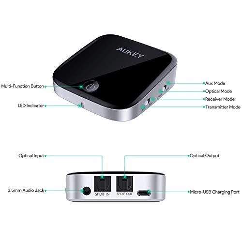 AUKEY Trasmettitore e Ricevitore Bluetooth 4.1 con aptX a Bassa Latenza, 15 Ore Playtime, 2 in 1 Adattatore Audio Wireless con Audio da 3,5 mm / Optical Cable per TV, PC, Impianto Stereo Domestico ecc