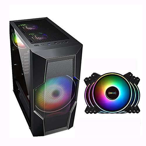 BBNB Cajas Informáticas, Mediados De La Torre Ordenador Personal Caja De Juegos ATX/M-ATX/ITX - Parte Delantera E/S USB 3.0 Puerto - Panel Lateral De Cristal Acrílico - 200 Mm Big Fanm - 5 RGB Aficio