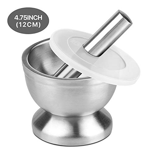 Flexzion Brushed Stainless Steel Mortar and Pestle Set w/Lid, Anti-Slip Bottom - Solid Metal Grinder Pill Crusher Bowl Holder for Guacamole Herbs Spices Garlic/Kitchen Cooking Medicine 4-3/4 Inch