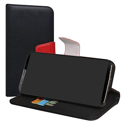 LiuShan CUBOT X18 Plus Funda, PU Cuero Book Style Billetera Cartera Monedero con Soporte Funda Caso para CUBOT X18 Plus (5.99 Pulgadas) Smartphone(con 4 en 1 Regalo empaquetado),Negro