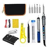 ODOUKEY-Kit del soldador del kit del soldador del calentamiento rápido Pantalla LCD con soporte Consejos Pinzas de estaño alambre 15PCS