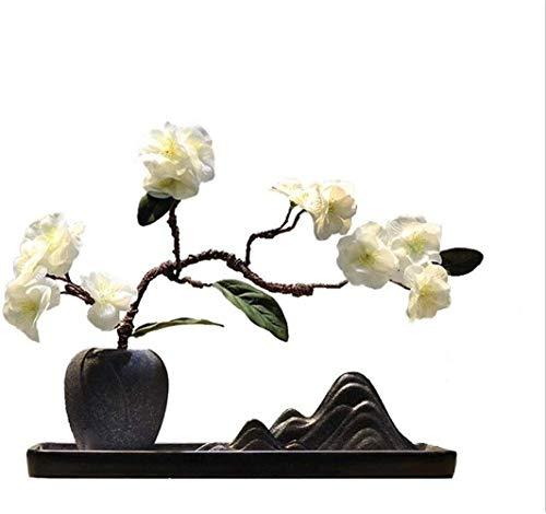 Equipo diario Flores artificiales para decoración Flores artificiales decorativas Jarrón de cerámica china Flor artificial Zen Accesorios para el hogar para el interior del dormitorio Hogar D eacut
