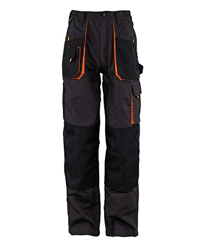 Stenso Emerton® - Herren Arbeitshose Bundhose/Cargohose - strapazierfähig - Dunkelgrau/Schwarz/Orange EU54