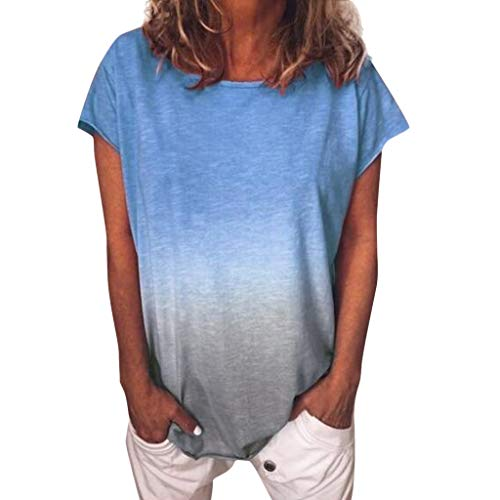T-Shirt Damen Kurzarm Casual mit Rundhalsausschnitt T-Shirt Tunika Bluse Frauen Casual Farbverlauf Kurzarm Tops (XL,2blau)