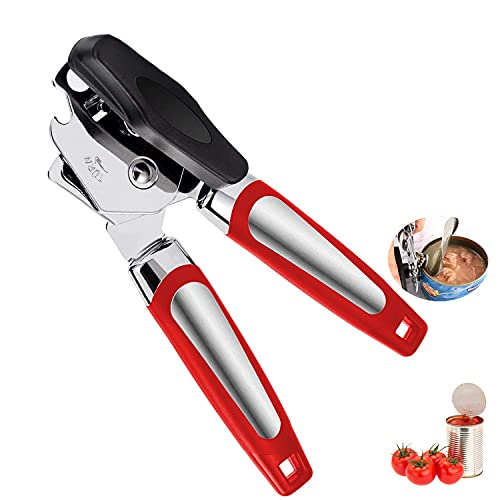 Can Opener, Tin opener Heavy Duty Manual Can Opener Stainless Steel Jar Openers Handheld Bottle Opener Kit Kitchen Tools for Beer Tin Bottle Cans-Red