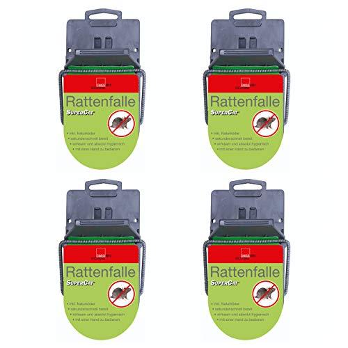 SuperCat Rattenfalle: Effiziente Schlagfalle inkl. giftfreiem Natur-Rattenköder, einsatzbereit, 4 x 1er Set
