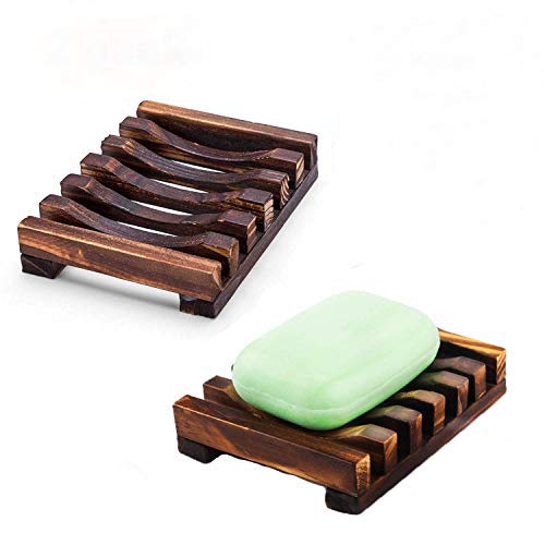 RIXOW Seifenhalter, Handarbeit Seifenschale, Natürliche Bambus Seifenkiste, Bad Waschbecken Deck Seifenhalterung 2 Stk