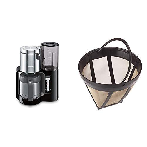 Siemens TC86503 Kaffeemaschine (1100 Watt, optimales Kaffeearoma, Timer-Funktion, abnehmbarer Wassertank, automatische Abschaltung) schwarz & ScanPart Goldtonfilter Größe 4
