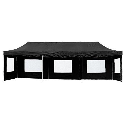 Nexos Profi Faltpavillon Partyzelt Pavillon 3x9 m mit Seitenteilen - hochwertige Ausführung - wasserdichtes Dach mit PVC-Coating - 270 g/m² incl. Tragetasche und Zubehör – Farbe: schwarz